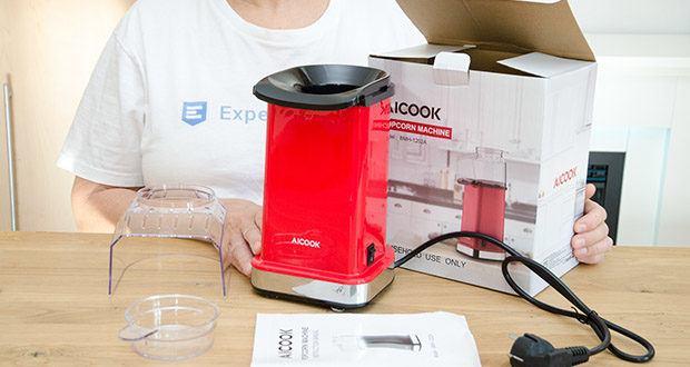 Aicook Popcornmaschine 1400W im Test - Lieferumfang: 1x Popcornmaschine, 1x Messbecher, 1x Bedienungsanleitung