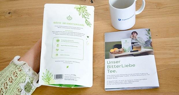 BitterLiebe Tee im Test – besteht aus: Pfefferminzblätter, Fenchel, Ingwerwurzel, Melisse, Löwenzahnkraut & Tausendgüldenkraut