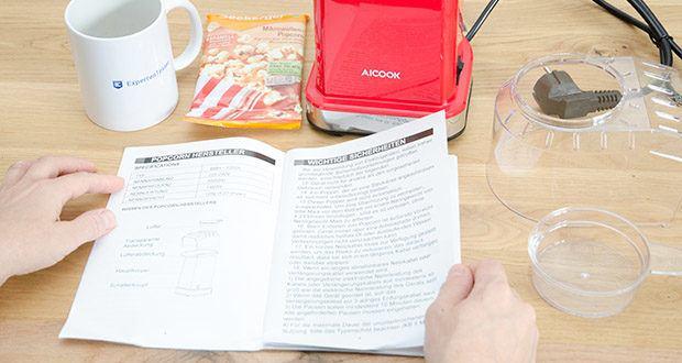 Aicook Popcornmaschine 1400W im Test - nach einmaliger Arbeit schalten Sie bitte das Gerät aus und warten Sie bis das Gerät abkühlt vor dem zweiten Benutzen (Ca. 10-15 Minuten)