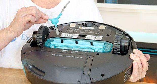 Cecotec Conga 5490 Saugroboter im Test - Technologie Brush Pro mit einem Dreh-Hauptbürste, die die Staub von Teppiche und Teppichböden gründlich reinigt. Hauptbürste aus zwei Materiallen, Borsten mit Silikon und Gummi, um jede Art von Schmutz zu entfernen