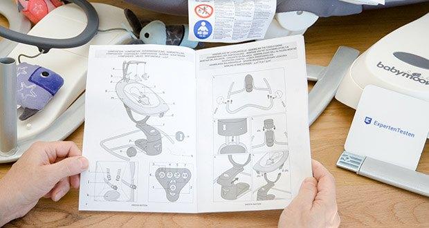 Babymoov Babyschaukel Swoon Motion Zink im Test - die Rückenlehne und Fußablage sind unabhängig voneinander mit nur einer Hand einstellbar (jeweils 3 Positionen)