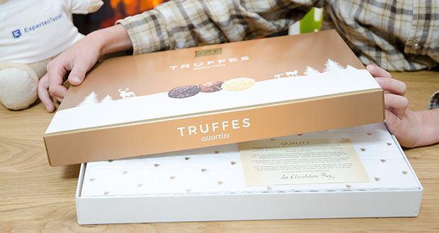 Frey Truffes assortiert Geschenkpackung im Test - hergestellt in der Schweiz aus UTZ-zertifiziertem Kakao und Schweizer Milch