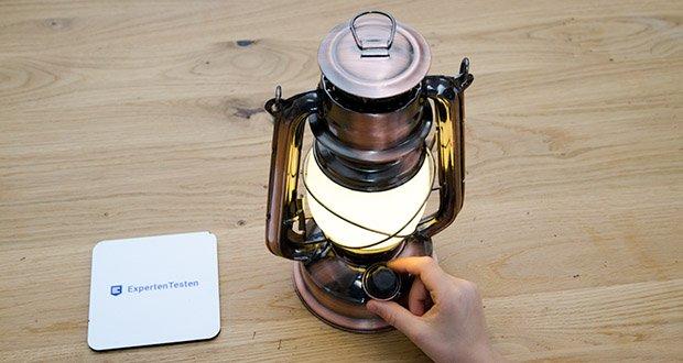 Chilitec LED Camping Laterne CT-CL Copper im Test - EIN/AUS - Drehschalter mit Dimmfunktion