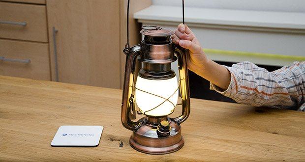Chilitec LED Camping Laterne CT-CL Copper im Test - verbirgt hinter dem Milchglas eine LED-Lampe mit wunderschönem Licht