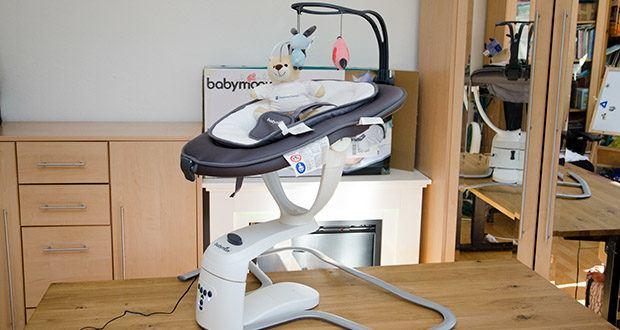 Babymoov Babyschaukel Swoon Motion Zink im Test - ein innovativer Bewegungsmelder kann ebenfalls programmiert werden