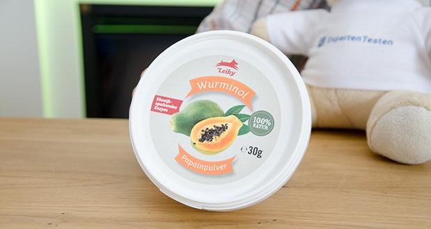 Leiky Wurminol Papainpulver Ergänzungsfutter im Test - ist Papainpulver, das aus den Kernen und dem Saft der angeritzten Haut der unreifen Papaya hergestellt wird