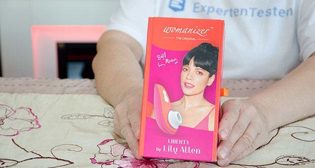 Womanizer Liberty by Lily Allen im Text - Maße: 105 mm x 50 mm x 40 mm; Gewicht: 90 g; Garantie 2 Jahre