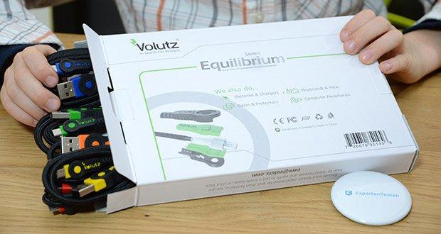 Volutz Micro USB Kabel 5er Pack im Test - beinhaltet sind 5 farbcodierte Ladekabeln in verschiedene Längen (1x3m, 1x2m, 3x1m)