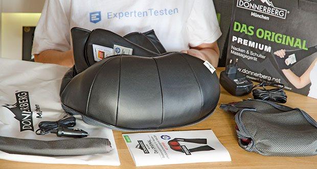 Donnerberg Nackenmassagegerät Premium NM089 im Test - der Lieferumfang beinhaltet das Massagegerät, einen Netzadapter, einen KFZ-Adapter, ein Hygienetuch für empfindliche Haut, einen Tragebeutel aus nachhaltigem Material, eine Bedienungsanleitung und drei austauschbare Bezüge
