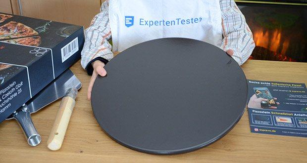 Esprevo Pizzastein Set im Test - die Fläche des Steines hat einen Durchmesser von 33cm