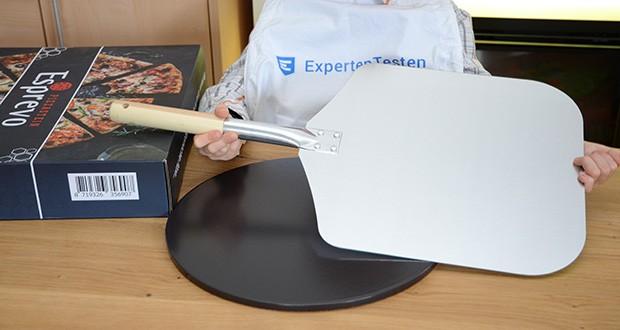 Esprevo Pizzastein Set im Test - mit dem Esprevo Pizzastein-Set erhältst Du einen Pizzaschieber aus hochwertigem Metall