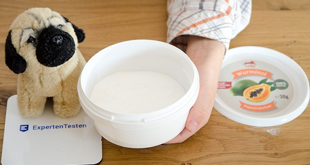 Leiky Wurminol Papainpulver Ergänzungsfutter im Test - unterstützt die Eiweißverdauung. Würmer / Giardien bestehen hauptsächlich aus Eiweiß
