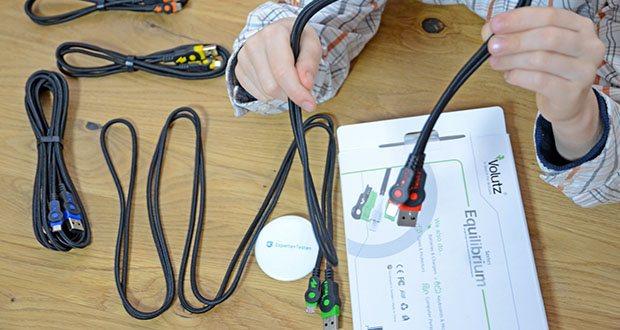 Volutz Micro USB Kabel 5er Pack im Test - die Kabel von Volutz kommen in verschiedene Farben, dies ermöglicht das Zuordnung, wozu jedes Kabel genutzt wird. Ob im Büro, im Auto, am PC oder in der Familie, jeder hat sein eigenes