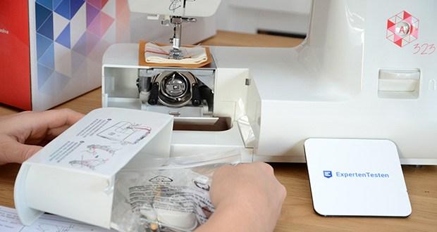Gritzner Dorina Freiarm-Nähmaschine 323 im Test - Stauraum für Zubehör im Innern des abnehmbaren Freiarm