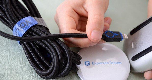 Volutz USB zu Lightning Kabel 5er Pack im Test - verwickelungsfrei und robust durch geflochtenes Textilgewebe