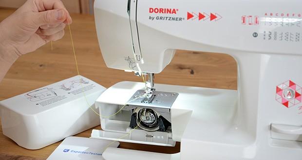 Gritzner Dorina Freiarm-Nähmaschine 323 im Test - bei Bedarf ist der Freiarm abnehmbar