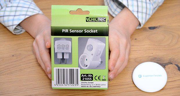 Chilitec Zwischenstecker mit Bewegungsmelder im Test - der praktische Zwischenstecker schaltet dank integriertem PIR-Sensor automatisch bei Bewegung ein.