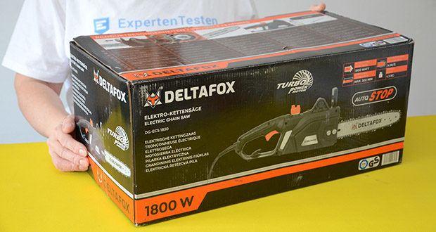 Deltafox Elektro-Kettensäge DG-ECS1830 im Test - Verpackungsabmessungen: 50 x 27.2 x 24.4 cm; Gewicht: 4.2 kg