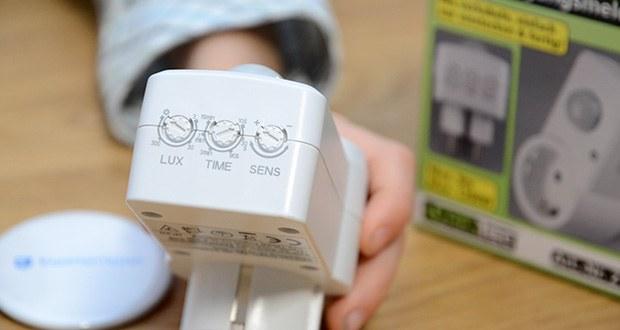 Chilitec Zwischenstecker mit Bewegungsmelder im Test - Dämmerungs-Schaltschwelle einstellbar, Empfindlichkeit einstellbar, Zeiteinstellung 10 Sek. - 15 Min.