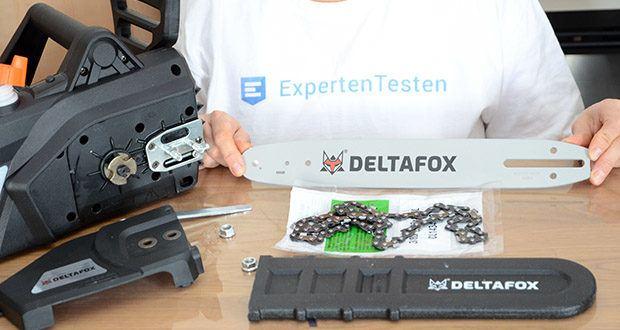 Deltafox Elektro-Kettensäge DG-ECS1830 im Test - verfügt über ein langlebiges Metallgetriebe, ein Qualitätsschwert mit kugelgelagertem Umlenkstern und laufruhiger, vibrationsarmer Trilink Chromkette