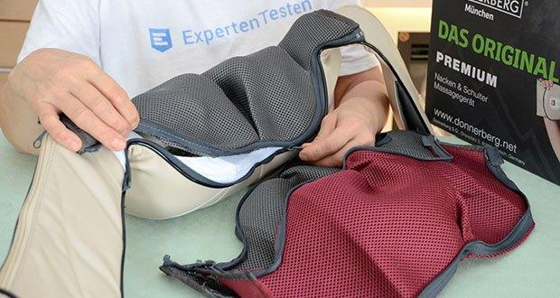 Donnerberg Original Premium NM089 Nackenmassagegerät im Test - dank Zipper kann man Bezüge ganz einfach vom Massagegerät abnehmen und bei 30° in der Waschmaschine reinigen