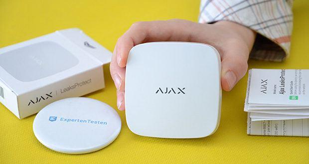 Ajax Alarmanlage im Test - kabelloser Wassermelder meldet sich beim ersten Anzeichen von Feuchtigkeit und zieht die Meldung zurück, sobald das Wasser getrocknet ist