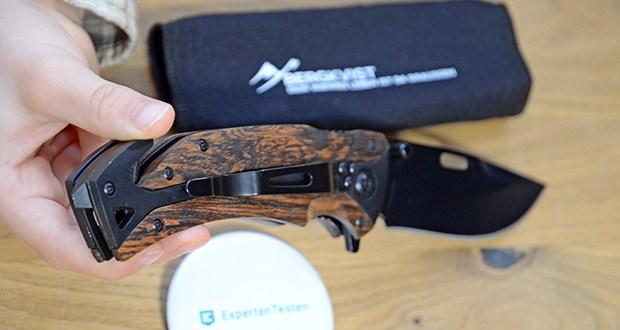 BERGKVIST K29 Tiger Jagdmesser im Test - die scharfe, robuste Edelstahlklinge und der praktische Gurtschneider und Glasbrecher