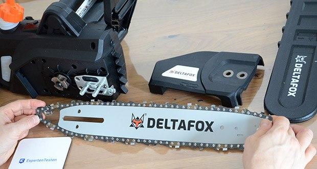 Deltafox Elektro-Kettensäge DG-ECS1830 im Test - Schwert mit rollengelagertem Umlenkstern