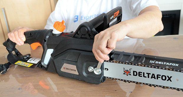 Deltafox Elektro-Kettensäge DG-ECS1830 im Test - der Krallenanschlag ermöglicht es die Säge mit der laufenden Kette am Holz sicher zu fixieren