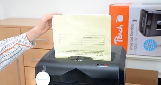 Peach Altenvernichter PS500-70 im Test - mit nur einem Schalter mit drei Funktionen kann der Aktenvernichter einfach bedient werden