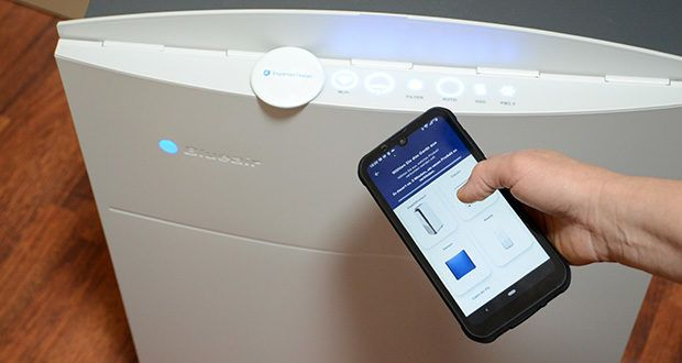 BLUEAIR Luftreiniger Classic 480i im Test - verbunden mit der Anwendung Blueair Friend in Wi-Fi