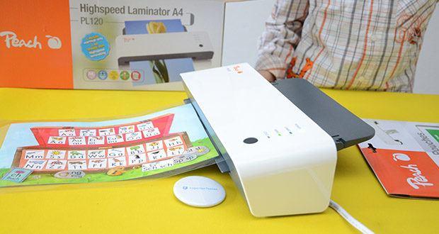 Peach Laminiergerät PL120 im Test - schnell startklar in 60 Sekunden und mit einer Geschwindigkeit von 600 mm/min können bis zu 2 DIN-A4 Seiten pro Minute laminiert werden