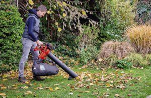 Ein Laubhaufen kann Schutz zum Überwintern für Igel und Insekten gewähren. Mit einem Häcksler zerkleinert kann es wertvolle Nährstoffe für ein Blumenbeet bieten.