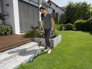 Für Rasenkantenschneider mit hoher Leistung ist selbst nasses Gras kein Problem.