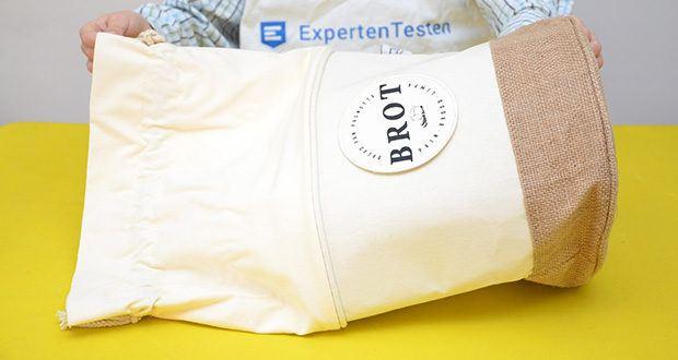 Glueckstoff Aufbewahrungsbox Brot Korb im Test - den eingenähten Bio-Baumwollbeutel kannst du rausstülpen und waschen