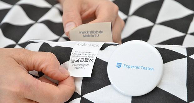 KraftKids Wickelauflage in schwarze Dreiecke im Test - kann ganz einfach in der Waschmaschine, bei Waschgängen bis zu 40 Grad gewaschen werden