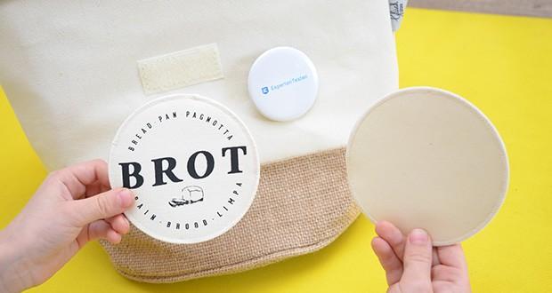 """Glueckstoff Aufbewahrungsbox Brot Korb im Test - neben dem bedruckten """"BROT"""" Klettsticker wird ein reiner Sticker mitgeliefert, den du mit einem Kreidestift beschriften kannst"""