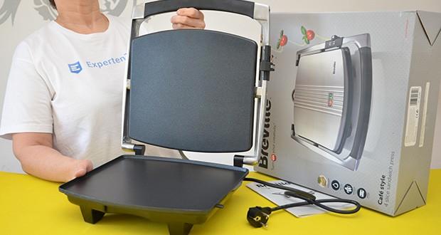 Breville Panini Grill Sandwichtoaster im Test - die Platten sind mit einer Antihaft-Beschichtung versehen, die die Reinigung erleichtern