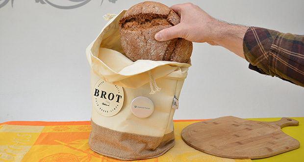 Glueckstoff Aufbewahrungsbox Brot Korb im Test - die natürliche Jutefaser des Leinenbeutels hält besonders Brot länger frisch