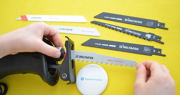 Deltafox Elektro Säbelsäge DP-ERS 8010 im Test - die Blätter kannst du schnell und mühelos mit dem Schnellspannfutter der Säge wechseln