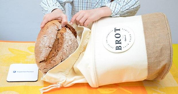 Glueckstoff Aufbewahrungsbox Brot Korb im Test - die natürliche Jutefaser und das dunkle Baumwollfutter bilden die beste Umgebung für Lebensmittel