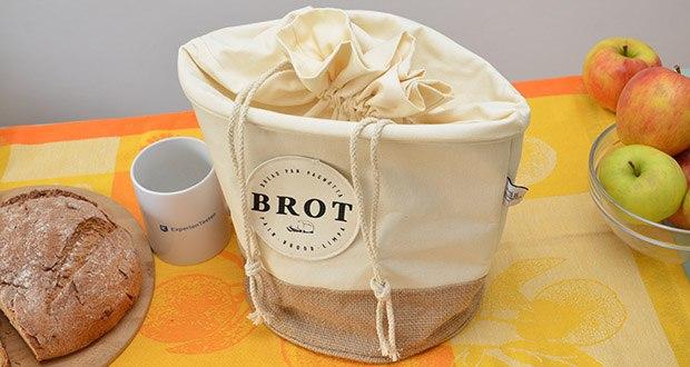 Glueckstoff Aufbewahrungsbox Brot Korb im Test - das zeitlose beige Design im Vintage Look und Kordelzug vereint sich optisch mit deinem Haushalt