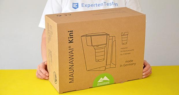 MAUNAWAI NEU Kanne Kini Tischwasserfilter im Test - Verpackung besteht aus 100% recycelbarem Altpapier und frei von Lack