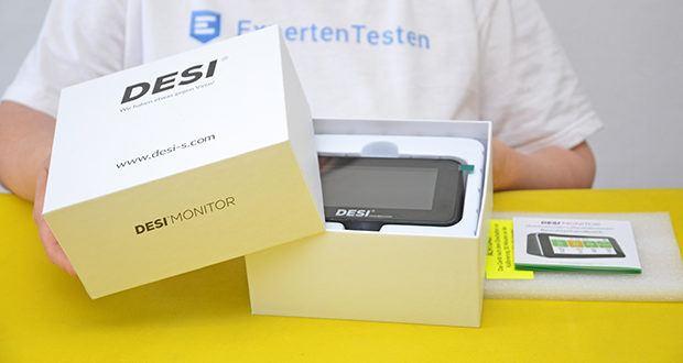 DESI-System DESI Monitor Luftquailitätsmonitor im Test - Gewicht: ca. 345 g; Abmessung: 78 x 131 x 67,5 mm (HxBxT)