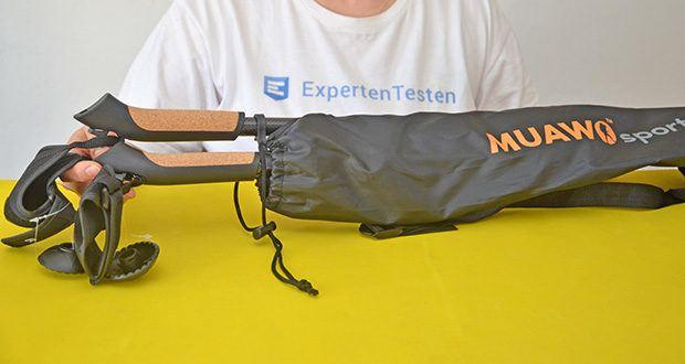 Muawo Nordic Walking Stöcke im Test - maßgeschneiderte Umhängetasche