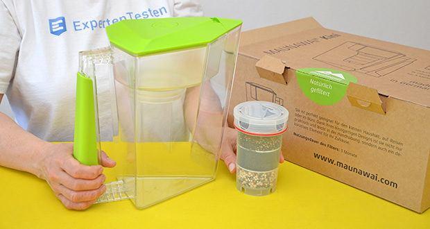 MAUNAWAI NEU Kanne Kini Tischwasserfilter im Test - Lieferumfang: Kanne aus SMMA Kunststoff, PI-Filterkartusche, Kalkfilter-Pad mit Deckel, Bedienungsanleitung in 2 Sprachen (D/E) mit Wechselintervall