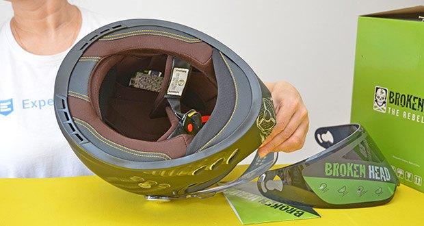 Broken Head Motorradhelm Gasman im Test - Innenmaterial: Polyester
