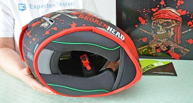 Broken Head Jack S. V2 Pro Motorradhelm im Test - herausnehmbares Innenfutter