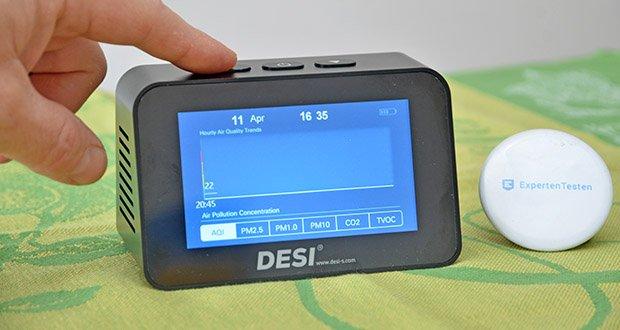 DESI-System DESI Monitor Luftquailitätsmonitor im Test - eine Grafik zeigt die Werteentwicklung über die letzten 8 Stunden an