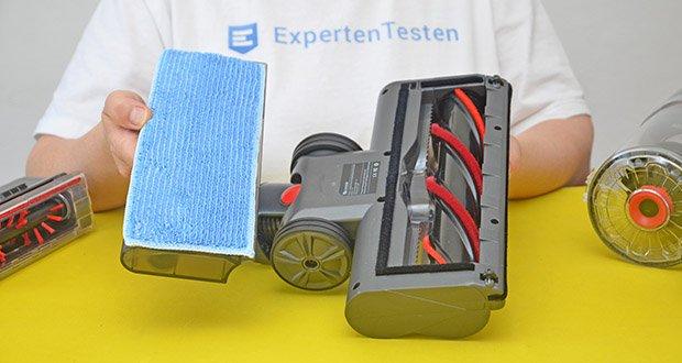 Proscenic P11 Akku Staubsauger im Test - der Tank mit Wischtuch kann gleichzeitig saugen und wischen